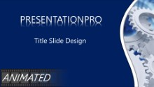 Multi Gears Blue Widescreen PPT PowerPoint Animated Template Background