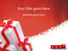 2012 Presents Red PPT PowerPoint Template Background