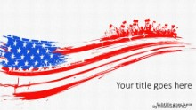 Tattered Flag Widescreen PPT PowerPoint Template Background