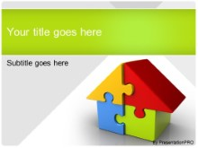 Download housing puzzle green PowerPoint Template and other software plugins for Microsoft PowerPoint