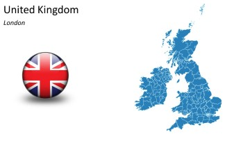PowerPoint Country Map United Kingdom, Great Britian