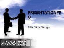Download animated handshake in clouds Animated PowerPoint Template and other software plugins for Microsoft PowerPoint