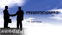 Download animated handshake in clouds widescreen PowerPoint Widescreen Template and other software plugins for Microsoft PowerPoint