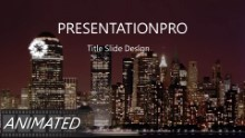 Keynote Effect - Fireworks Skyline PPT PowerPoint Animated Template Background