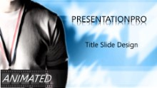 Gold Medal and Flag Widescreen PPT PowerPoint Animated Template Background