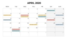 Calendars 2020 Monthly Monday April