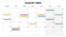 Calendars 2020 Monthly Monday August