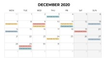 Calendars 2020 Monthly Monday December