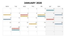 Calendars 2020 Monthly Monday January