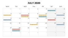 Calendars 2020 Monthly Monday July