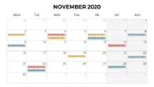Calendars 2020 Monthly Monday November