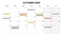 Calendars 2020 Monthly Monday October