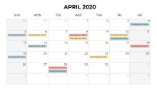 Calendars 2020 Monthly Sunday April
