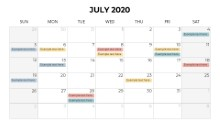 Calendars 2020 Monthly Sunday July