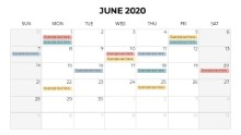 Calendars 2020 Monthly Sunday June