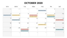 Calendars 2020 Monthly Sunday October