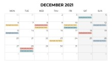 Calendars 2021 Monthly Monday December