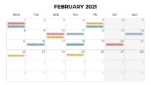 Calendars 2021 Monthly Monday February
