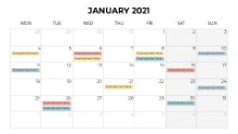 Calendars 2021 Monthly Monday January