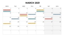 Calendars 2021 Monthly Monday March