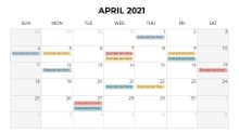 Calendars 2021 Monthly Sunday April