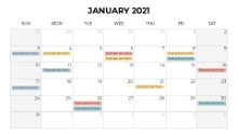 Calendars 2021 Monthly Sunday January