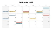 Calendars 2022 Monthly Sunday January