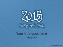 Leathery New Year 2015 Blue PPT PowerPoint Template Background