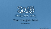 Leathery New Year 2015 Blue Widescreen PPT PowerPoint Template Background