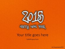 Leathery New Year 2015 Orange PPT PowerPoint Template Background