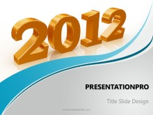 2012 3D Gold PPT PowerPoint Template Background