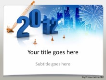2012 Under Construction Fireworks Skyline PPT PowerPoint Template Background