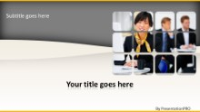 Asian Business Woman Widescreen PPT PowerPoint Template Background