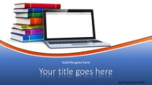 Blank Laptop And Books Blue Widescreen PPT PowerPoint Template Background