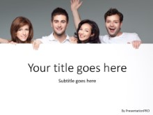 People Holding Banner PPT PowerPoint Template Background