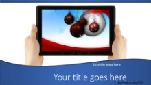 2014 Holding Tablet Holiday Widescreen PPT PowerPoint Template Background