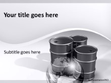 Crude Oil Barrels Silver PPT PowerPoint Template Background