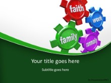 Life Gears Green PPT PowerPoint Template Background