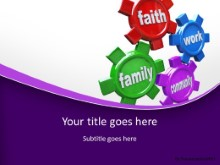 Life Gears Purple PPT PowerPoint Template Background