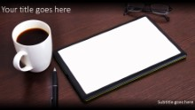 Tablet On Desk Widescreen PPT PowerPoint Template Background