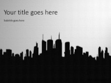 City Silhouette Black PPT PowerPoint Template Background