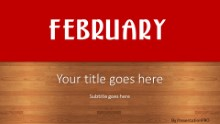February Red Widescreen PPT PowerPoint Template Background