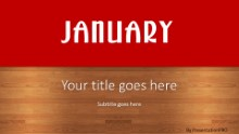January Red Widescreen PPT PowerPoint Template Background