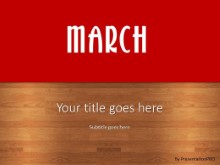 March Red PPT PowerPoint Template Background