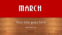 March Red Widescreen PPT PowerPoint Template Background