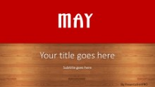 May Red Widescreen PPT PowerPoint Template Background