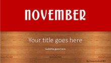 November Red Widescreen PPT PowerPoint Template Background