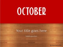 October Red PPT PowerPoint Template Background