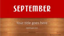 September Red Widescreen PPT PowerPoint Template Background