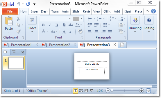 Office Tab for PowerPoint - design multiple presentations within a tabbed window